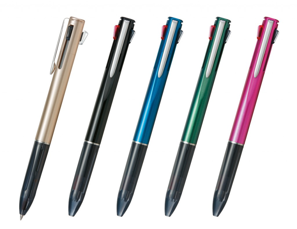 From left, champagne gold, black, blue, green, pink